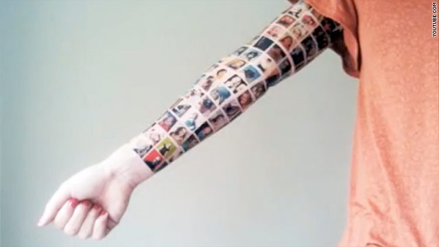'Tattoo' of 152 Facebook friends a publicity stunt