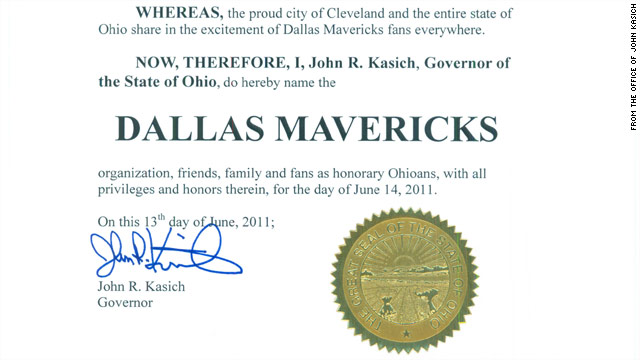 Kasich unloads on LeBron, declares Mavericks &#039;honorary Ohioans&#039;