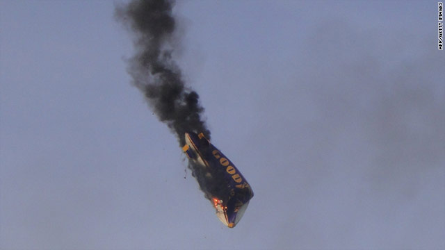 Blimp pilot dies saving passengers from fiery crash