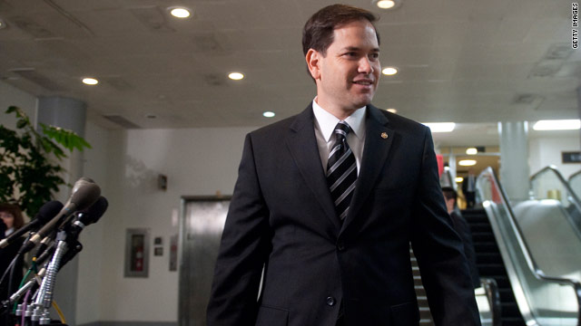 Rubio delivers first floor speech
