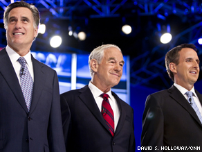 (L to R) Former Massachusetts Governor Mitt Romney, Texas congressman Ron Paul, former Minnesota Governor Tim Pawlenty.