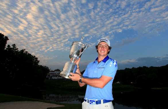 Rory McIlroy of Northern Ireland poses with the U.S. Open trophy Sunday in Bethesda, Maryland.