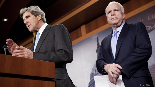Kerry, McCain push measure backing Libya campaign