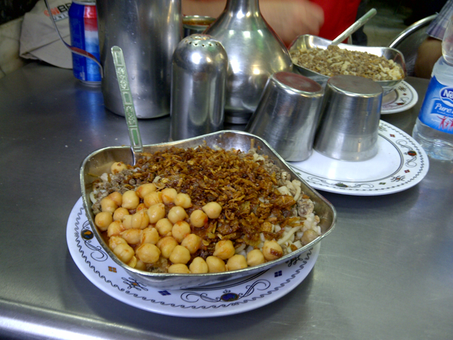 A plate of Abu Tareq's famous Koshari, a traditional and affordable favorite of the Egyptian masses.