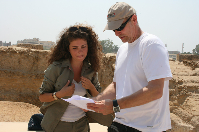 Rima Maktabi and producer Neil Curry go over scripts under the Egyptian sun.