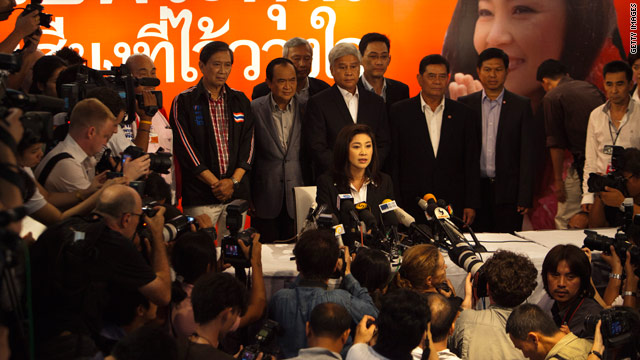 Thai PM concedes, congratulates first female premier