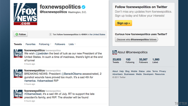 Fox News Twitter feed says Obama dead in apparent hack