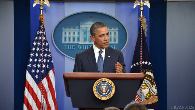 Obama addresses Tuesday's White House briefing