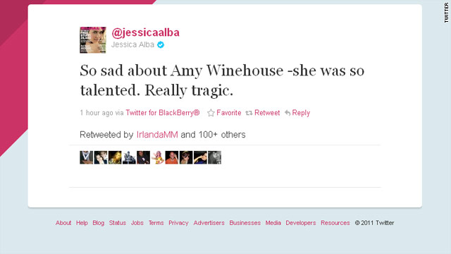 Celebs tweet condolences for Amy Winehouse