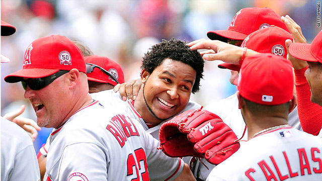 Angels' Santana pitches no-hitter in Cleveland