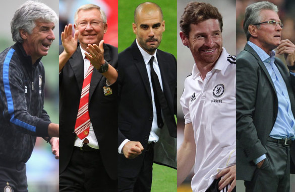 Men in charge: Gian Piero Gasperini, Alex Ferguson, Josep Guardiola, Andre Villas-Boas and Jupp Heynckes.
