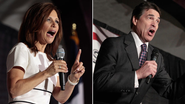 Perry and Bachmann duel for spotlight in Iowa