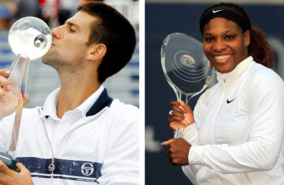 Novak Djokovic and Serena Williams pose with their Rogers Cup trophies.