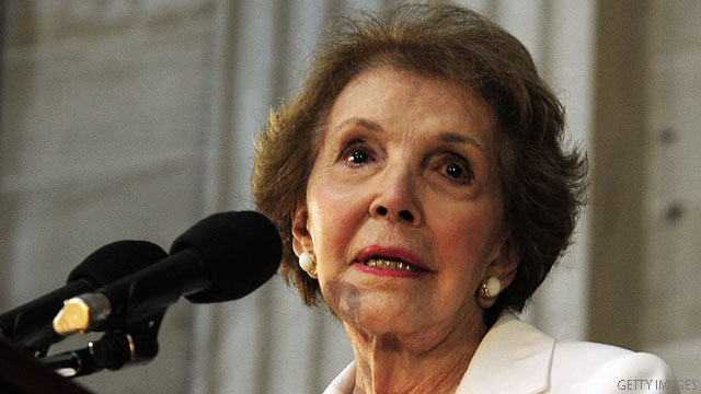 Nancy Reagan falls during California event
