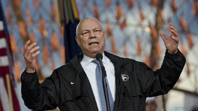 Colin Powell blasts N.C. voting law in front of governor who signed it