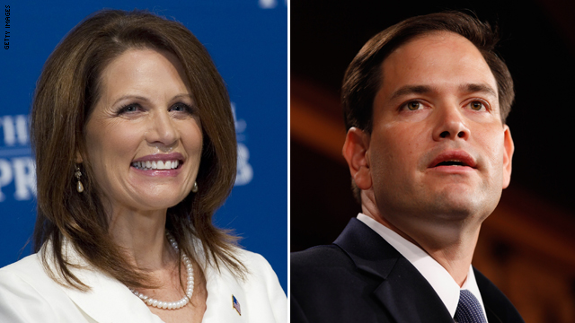 Bachmann highlights Rubio in campaign speech