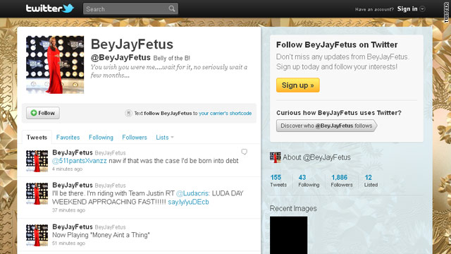 Beyonce, Jay-Z baby already on Twitter