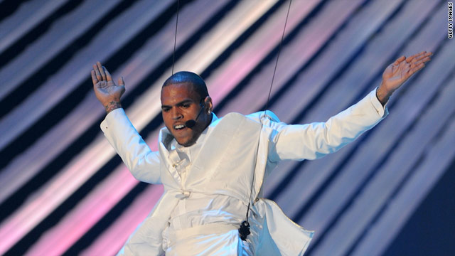 Chris Brown flies above on the VMAs