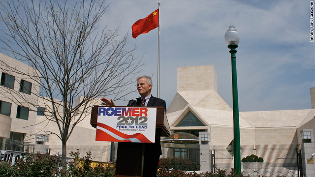 Roemer slams China in front of Chinese Embassy