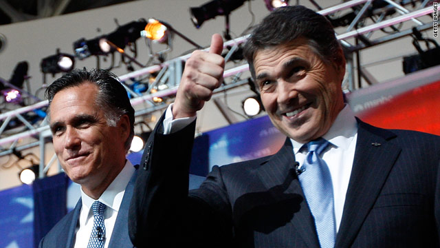 Perry, Romney spar over job creation, Social Security