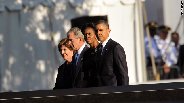 Presidents Obama and Bush commemorate 9/11 anniversary