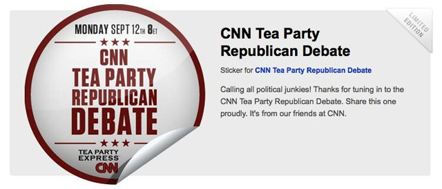 CNN and GetGlue Team up for Exclusive CNN-TeaParty Debate Sticker