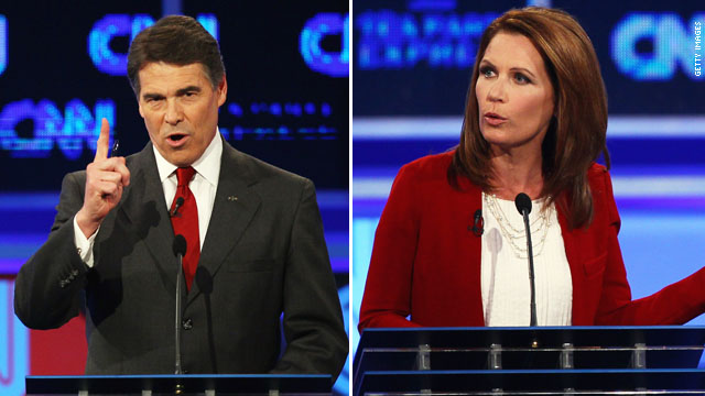Did Bachmann wound front-runner Perry at CNN/Tea Party Debate?