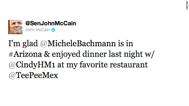 Tweet of the Day: Bachmann, McCain dinner