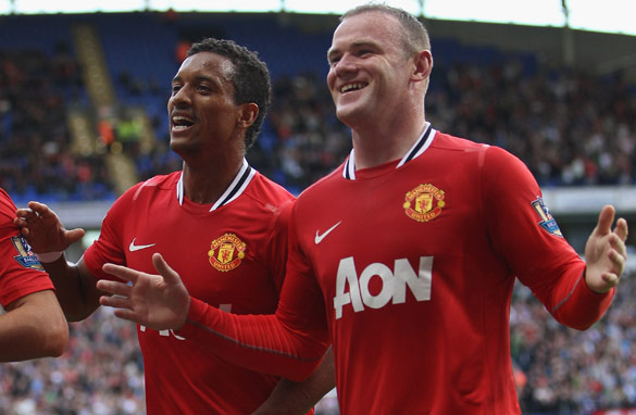 The impressive form of Nani (left) and Wayne Rooney (right) has been key to Manchester United's impressive start. (Getty Images)