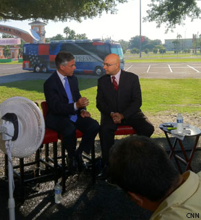 Our anchor Ali Velshi mid-interview with GOP presidential candidate Jon Huntsman.