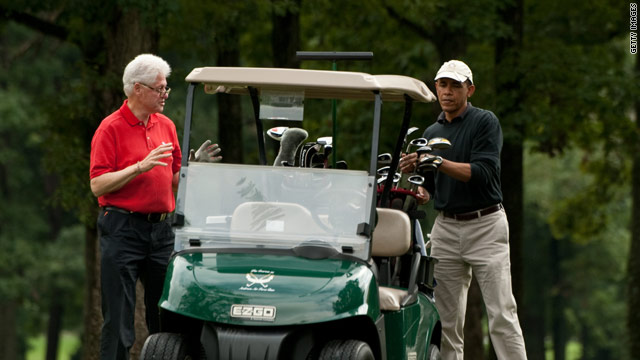 Obama and Bill Clinton tee off at Andrews