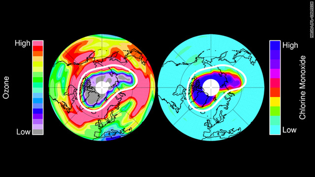 Study shows unprecedented loss of ozone above Arctic