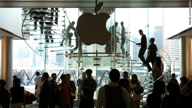 Apple's iconic logo remains symbolically dark at the company's Hong Kong store.