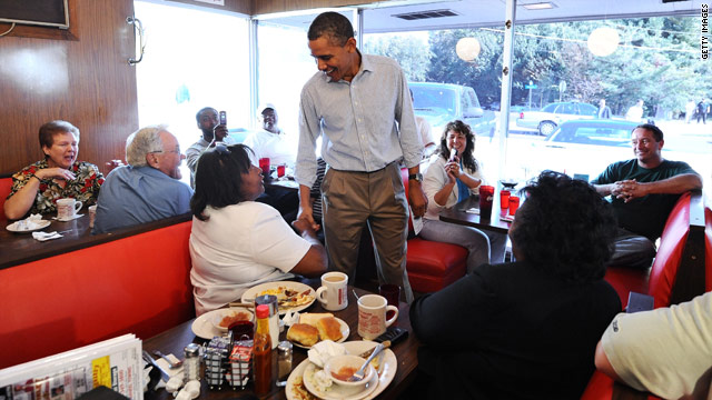 Don't tell Michelle! Obama not eating so well on the road