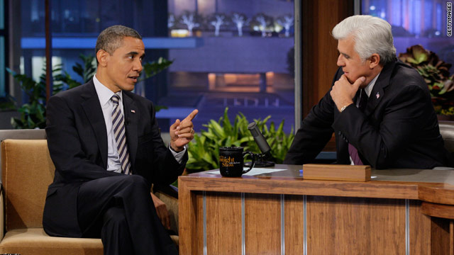 Obama chides Republicans during Leno appearance