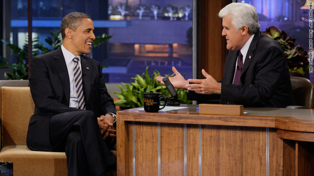 Obama talks politics, Libya with Leno