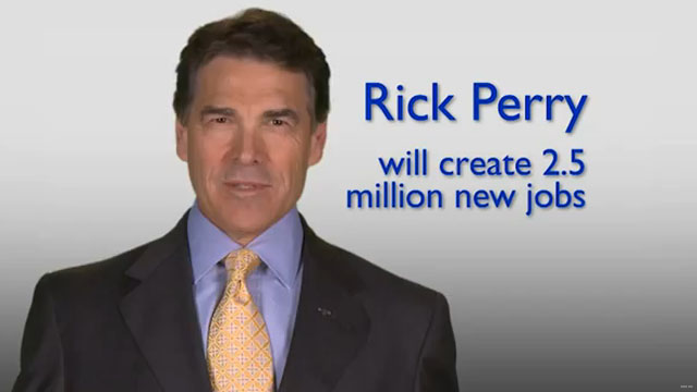 Rick Perry touts jobs record in first paid ad