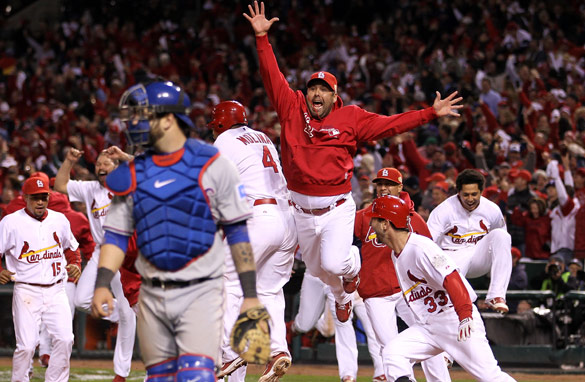 The St. Louis Cardinals celebrate after winning Game Six of the World Series.