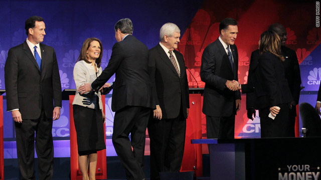 Cain again denies harassment allegations in GOP debate