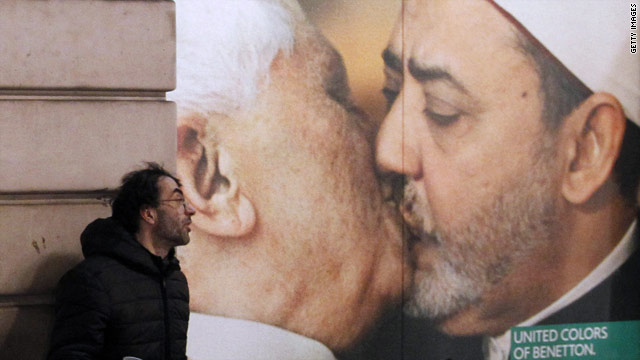 Benetton pulls ad featuring doctored photo of pope kissing imam