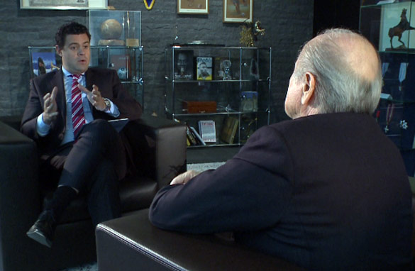 Before the storm: CNN's Pedro Pinto interviews FIFA president Sepp Blatter in Zurich on Wednesday.
