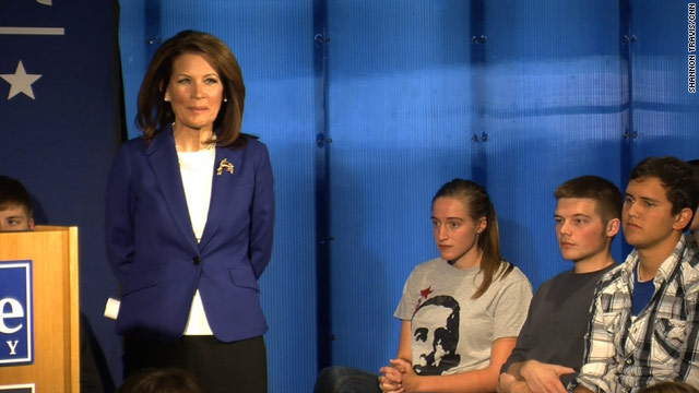 Bachmann gives students a 101 on issues, then gets lectured