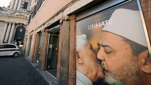 Vatican pledges legal action against Benetton over doctored pope-kissing-imam ad
