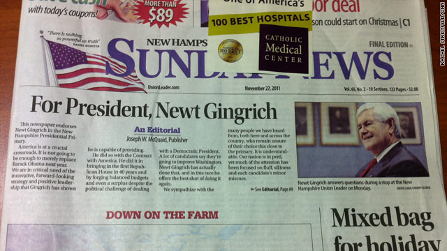 N.H. Union Leader backs Gingrich