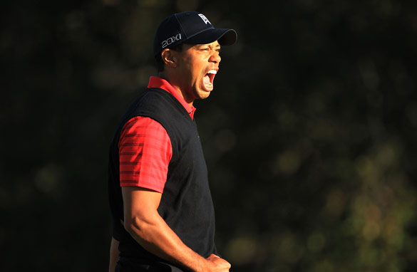 Tiger Woods celebrates his victory in the Chevron World Challenge but sterner tests await in 2012.