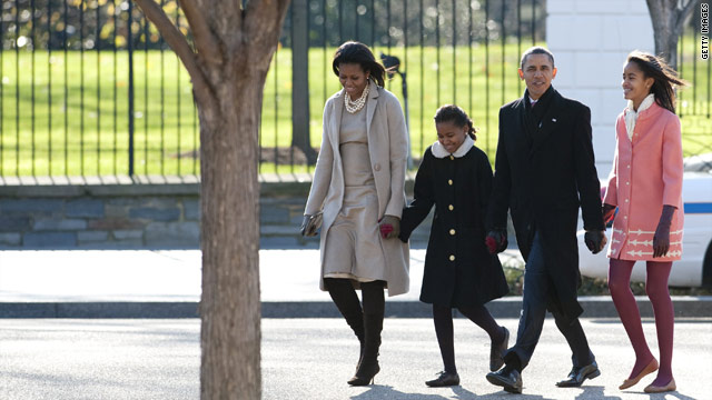 The Obamas walk to church, reverend preaches understanding expectations