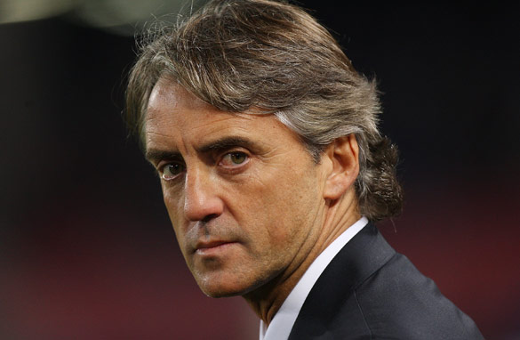 Roberto Mancini's Manchester City lost for the first time in 15 Premier League games this season on Monday. (Getty Images).