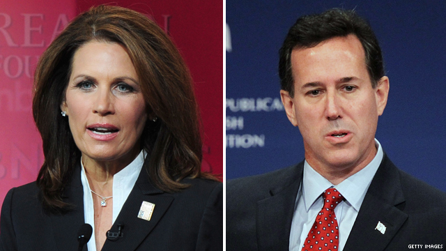 Bachmann, Santorum exchange swipes