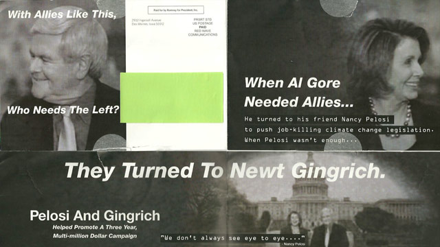Romney attacks Gingrich in Iowa mailboxes