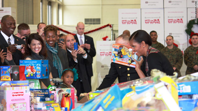 First Lady donates to Toys for Tots
